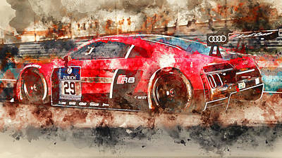Painting - Audi R8 Lms - Watercolor 02 by Andrea Mazzocchetti