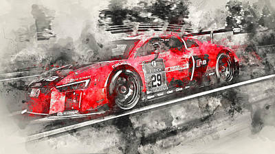 Painting - Audi R8 Lms - Watercolor 04 by Andrea Mazzocchetti