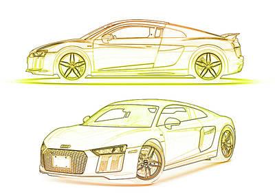 Digital Art - Audi R8 Sports Car by PixBreak Art