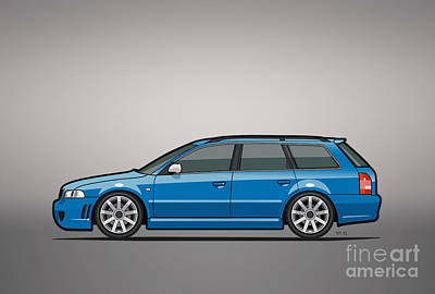 Station Mixed Media - Audi Rs4 A4 Avant Quattro B5 Type 8d Wagon Nogaro Blue by Monkey Crisis On Mars