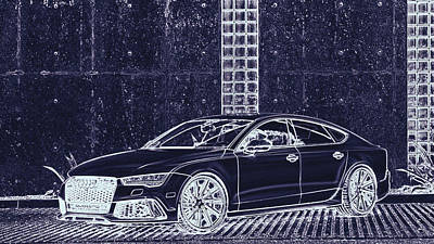 Digital Art - Audi Rs7 Vossen  by PixBreak Art