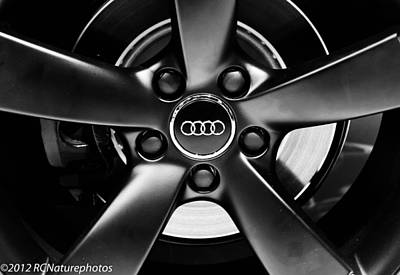 Vintage Stamps - Audi Wheel  monochrome by Rachel Cohen