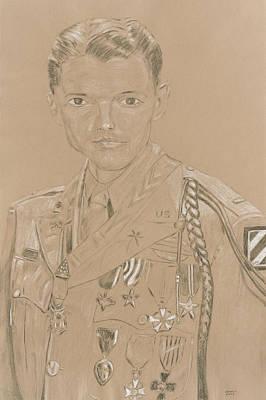 Ww Ii Drawing - Audie Murphy by Dennis Larson