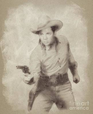 Musicians Drawings Rights Managed Images - Audie Murphy, Vintage Actor and War Hero by John Springfield Royalty-Free Image by John Springfield
