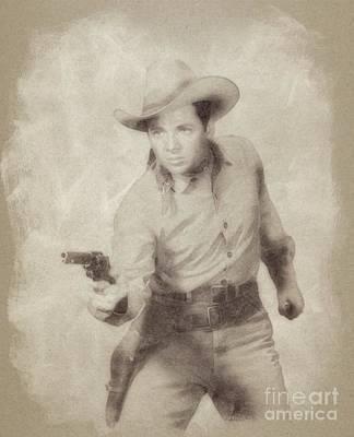 Murphy Drawing - Audie Murphy, Vintage Actor And War Hero By John Springfield by John Springfield