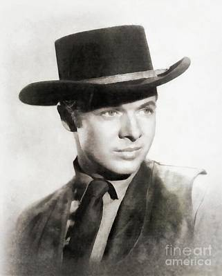 Painting Royalty Free Images - Audie Murphy, Vintage Actor Royalty-Free Image by Esoterica Art Agency