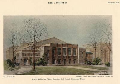 Auditorium Of Evanston High School. Evanston Illinois 1930 Art Print by Hamilton and Fellows and Nedved