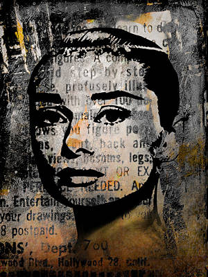 Mixed Media - Audrey Hepburn #2 by Kim Gauge