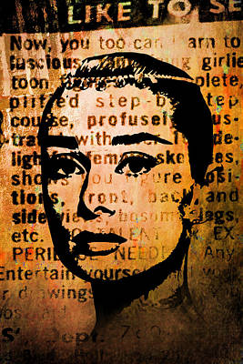 Mixed Media - Audrey Hepburn #4 by Kim Gauge