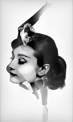 Audrey Hepburn 5 Black And White Portrait Art Print by Diana Van