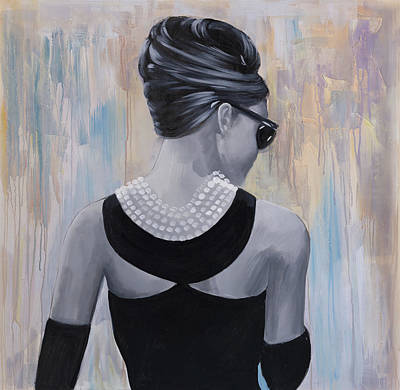 Hair Bun Painting - Audrey Hepburn Abstract Style Back View by Atelier B Art Studio