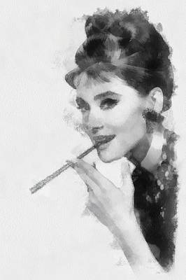 Actors Royalty-Free and Rights-Managed Images - Audrey Hepburn actress by Esoterica Art Agency