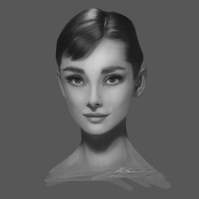 Actors Royalty Free Images - Audrey Hepburn Royalty-Free Image by Alex Ruiz