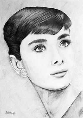 Kathleen Drawing - Audrey Hepburn by Alexander Ivanov