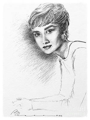 Audrey Hepburn Drawing - Audrey by Barbara Chase