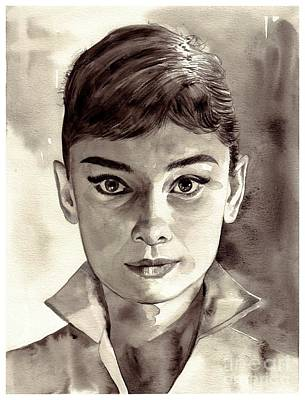 Dublin Wall Art - Painting - Audrey Hepburn Black And White by Suzann's Art