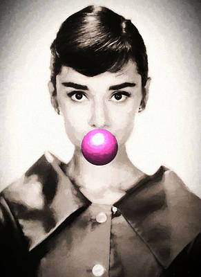 Actors Royalty-Free and Rights-Managed Images - Audrey Hepburn Bubblegum by Dan Sproul