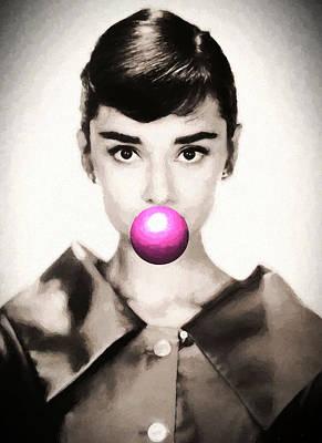 Painting - Audrey Hepburn Bubblegum by Dan Sproul
