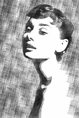 Drawing - Audrey Hepburn Bw Portrait by Mihaela Pater