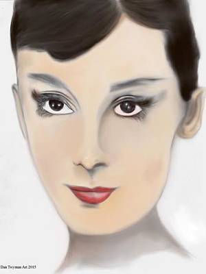 Drawing - Audrey Hepburn Color by Dan Twyman