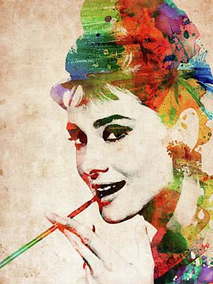 Audrey Hepburn Colorful Portrait Art Print