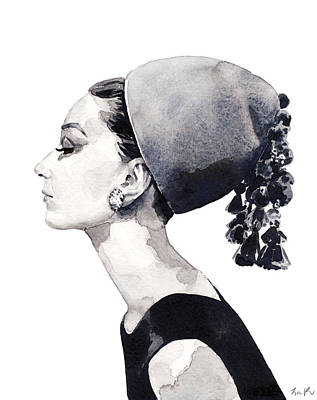 Grace Kelly Painting - Audrey Hepburn For Vogue 1964 Couture by Laura Row