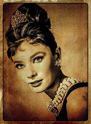 John Wayne Digital Art - Audrey Hepburn Hollywood Actress by Esoterica Art Agency