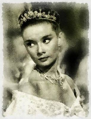 Popstar And Musician Paintings Royalty Free Images - Audrey Hepburn Hollywood Actress Royalty-Free Image by Esoterica Art Agency