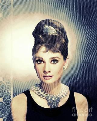 Actors Digital Art - Audrey Hepburn, Hollywood Legends by John Springfield