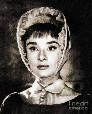 War And Peace Painting - Audrey Hepburn In War And Peace by John Springfield
