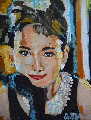1950 Movies Painting - Audrey Hepburn  by Jon Baldwin  Art