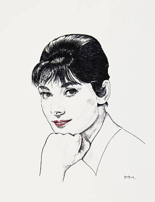 Drawing - Audrey Hepburn by Martin Howard