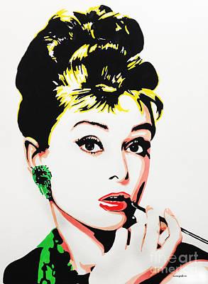 Painting - Audrey Hepburn by Nancy Mergybrower
