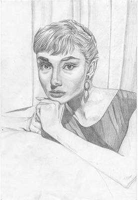 Kathleen Drawing - Audrey Hepburn by Olena Kukushkina