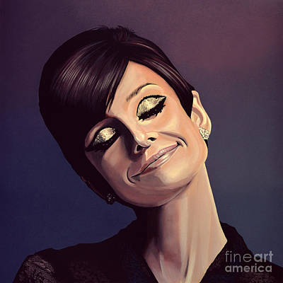 Golden Painting - Audrey Hepburn Painting by Paul Meijering