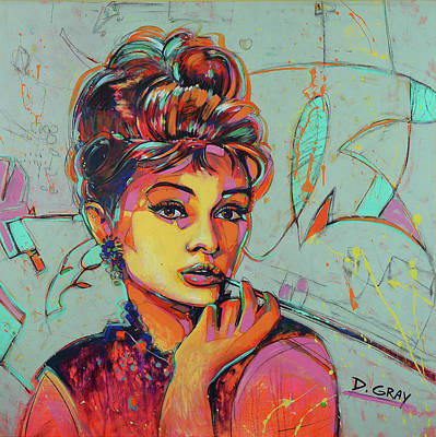 Beverly Hills Painting - Audrey Hepburn - Pop Art - Hollywood Icon  by Damon Gray