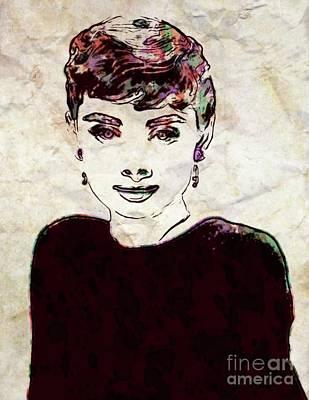 Actors Paintings - Audrey Hepburn, Pop Art by John Springfield