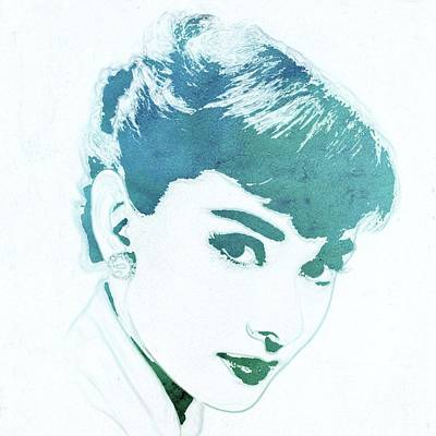 Actors Royalty-Free and Rights-Managed Images - Audrey Hepburn Pop Art by Mary Bassett