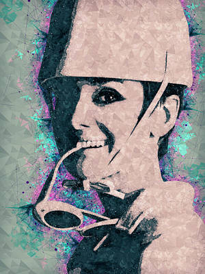Mixed Media - Audrey Hepburn Portrait by Studio Grafiikka