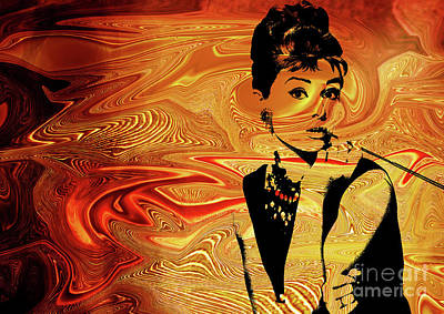 Lips Digital Art - Audrey Hepburn by Prar Kulasekara