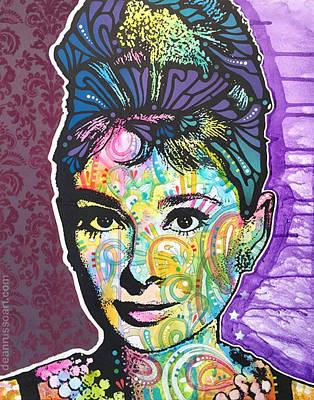 Audrey Hepburn Purple Flower Original by Dean Russo