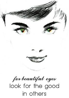 Audrey Painting - Audrey Hepburn Quotes 2 by Diana Van