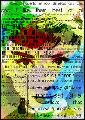Cinema Digital Art - Audrey Hepburn Motivational Inspirational Independent Quotes 1 by Diana Van
