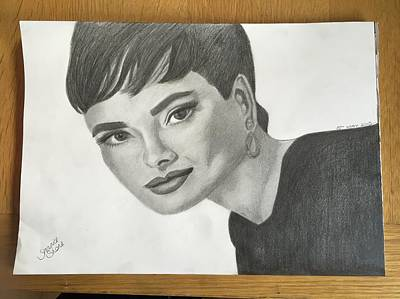 Fairer Sex Drawing - Audrey Hepburn by Shanice Stone