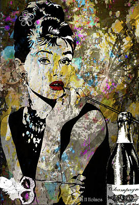 Mixed Media - Audrey Hepburn Tribute  by Angela Holmes