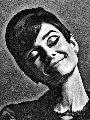 Musicians Drawings Royalty Free Images - Audrey Hepburn, Vintage Actress by JS Royalty-Free Image by John Springfield