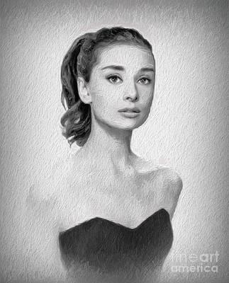 Actors Paintings - Audrey Hepburn, Vintage Actress by Sarah Kirk