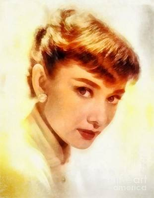 Actors Royalty-Free and Rights-Managed Images - Audrey Hepburn, Vintage Hollywood Actress by Frank Falcon