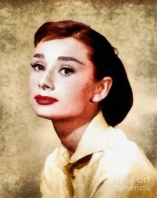 Actors Royalty-Free and Rights-Managed Images - Audrey Hepburn, Vintage Hollywood Legend by John Springfield