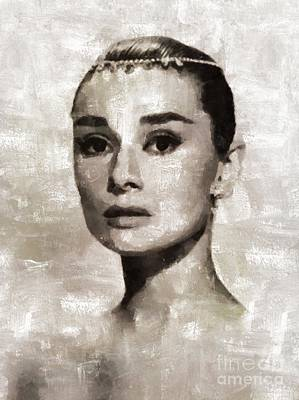 Actors Royalty-Free and Rights-Managed Images - Audrey Hepburn, Vintage Hollywood Legend by Mary Bassett